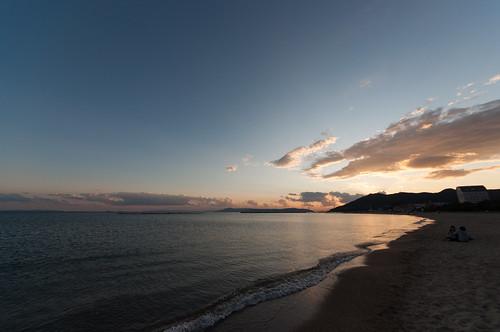 sunset sea sky beach japan 日本 海 空 hyogo setoinlandsea 夕焼け 瀬戸内海 兵庫県 2011 砂浜 神戸市 nikond90 須磨区 須磨海水浴場 pwpartlycloudy