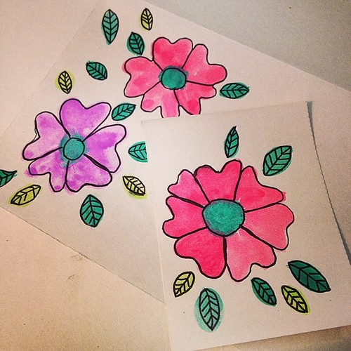 My little watercolor flower blooms for #postaljune