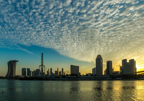 sunset skyline singapore altocumulus pwpartlycloudy