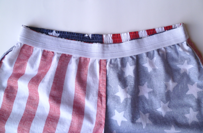 Patriotic American Flag Prefontaine Shorts - inside waistband close up by Hey, It's SJ
