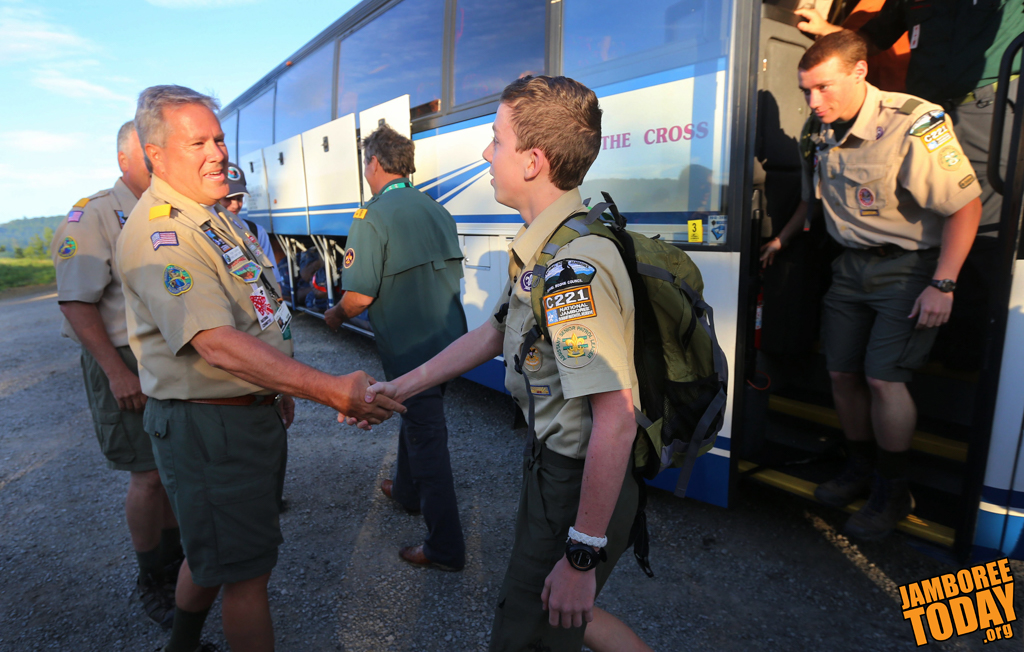 Arriving Busloads Cruise Into Scouting History