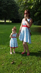 By Hand London Flora dress and New Look 6205 in Roald Dahl 'Lickswishy Sweets' fabric