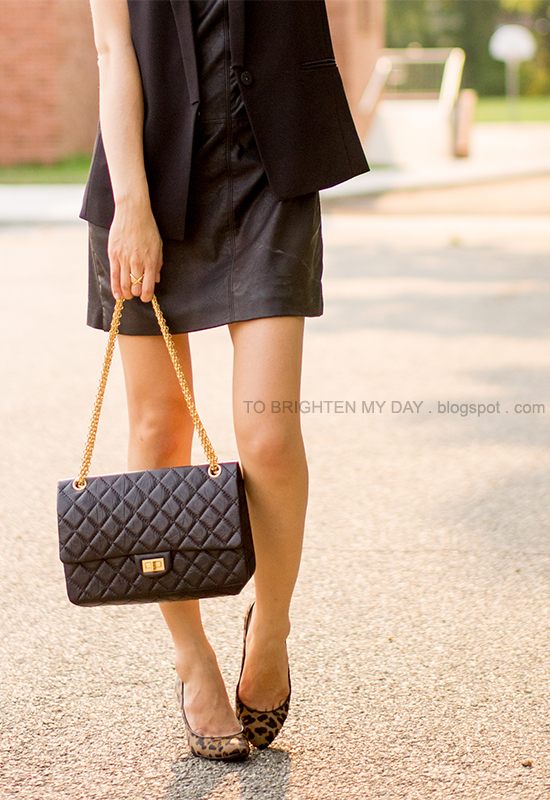 sleeveless vest, faux leather dress, leopard pumps