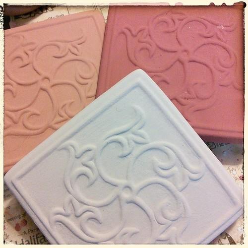 In progress: tiles for a (somewhat) comprehensive color chart. #ceramics #tiles