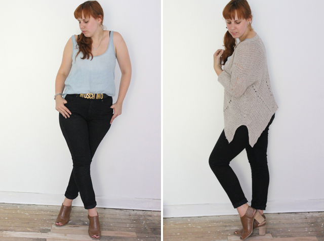 """Waistland outfit: Cloth and Stone chambray tank from Anthropologie, Paige Denim high-waisted black jeans, Anthropologie sweater, nameplate necklace, Target """"Kacie Peep Toe Bootie"""", vintage Moschino belt"""