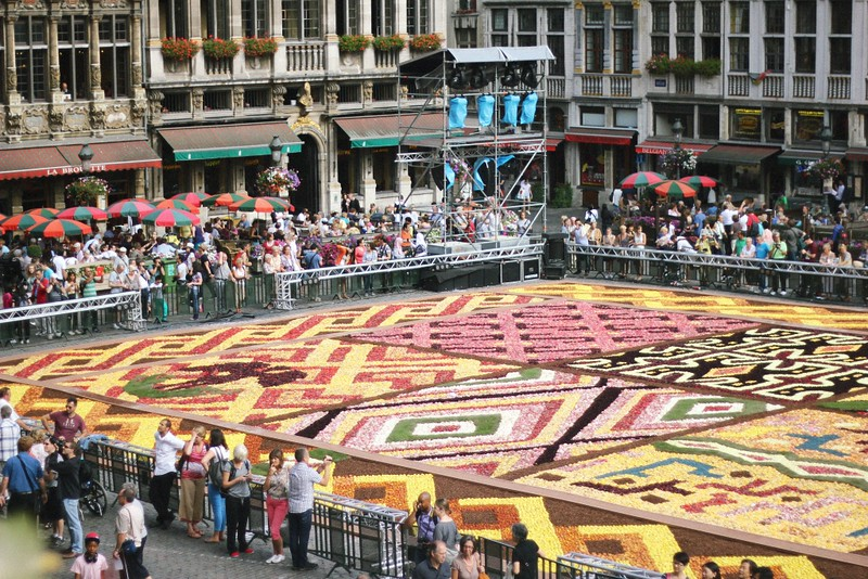 flower carpet view from city hall balcony