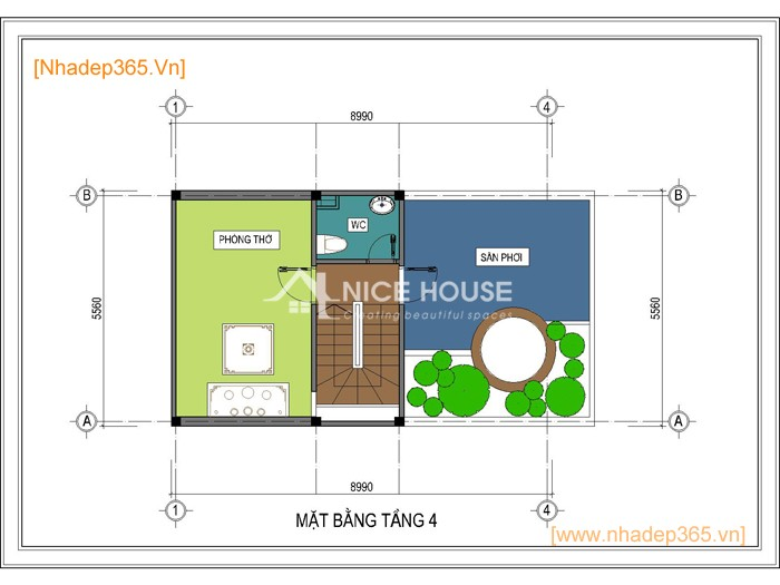 Thiết kế nhà phố 4 tầng 5x9m