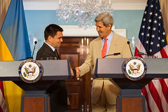U.S. Secretary of State John Kerry and Ukrainian Foreign Minister Pavlo Klimkin shake hands after their joint press conference at the U.S. Department of State in Washington, D.C., on July 29, 2014. [State Department photo/ Public Domain]