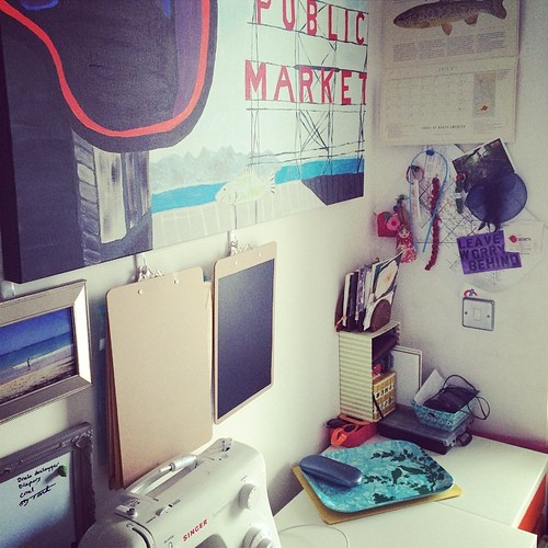 I cleaned off my #desk! So satisfying to see it again. Almost time to turn my Trout calendar to August.
