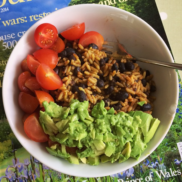 Cheat food. Mexican rice, black beans, tomatoes, avocado mashed with lime. #omnomnom