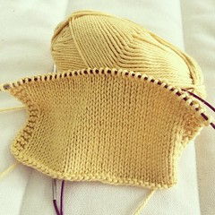 Swatching the necessary evil.  #knitting #cottonyarn #sweaterinthemaking