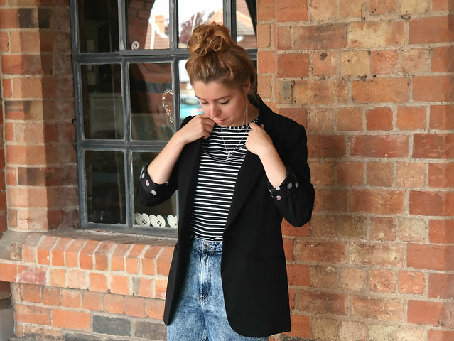 Details uk style blogger breton stripes blazer denim