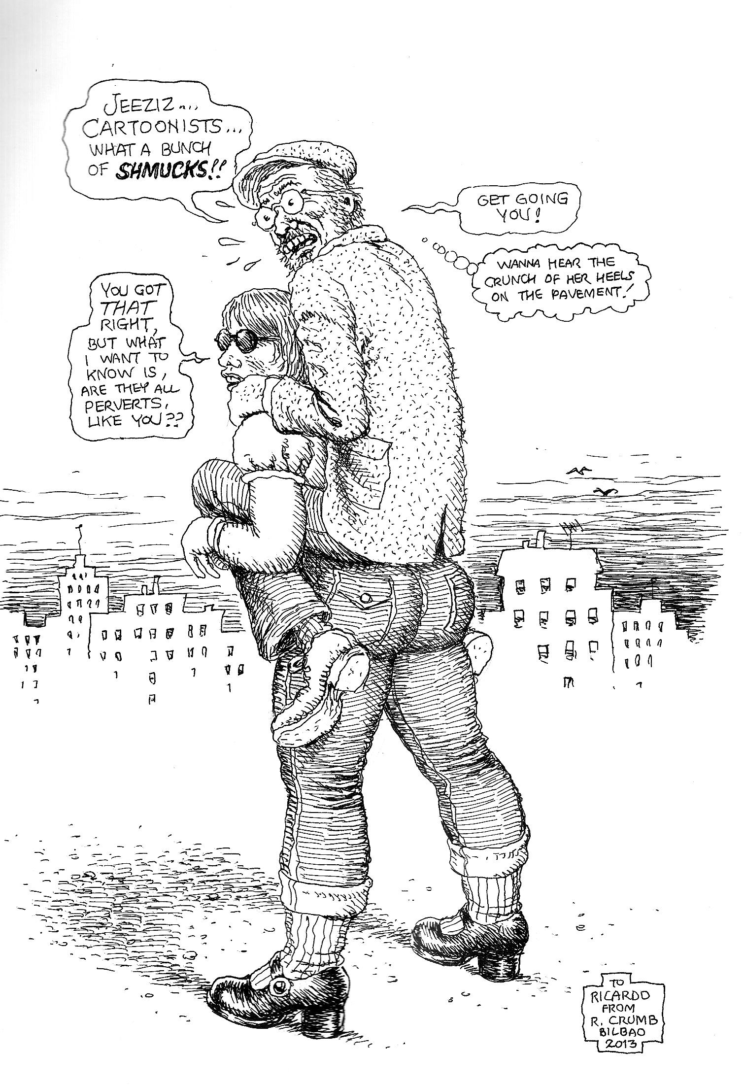 Dibujo de Robert Crumb para Ricardo Mena