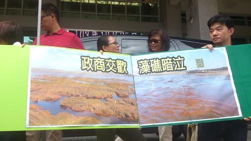 民眾高舉「政商交歡,藻礁暗泣」抗議標語。