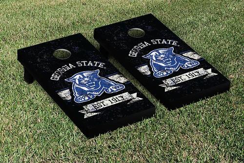 Georgia State Panthers Cornhole Game Set Banner Vintage Version
