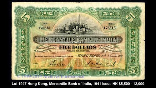 Lot 1947 Hong Kong, Mercantile Bank of India 1941 Issue