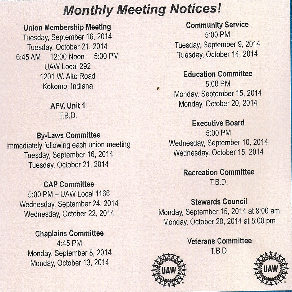 Sept Oct Union Meetings 2014