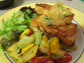 Southwestern Spice Rubbed Tofu; Pineapple-Lime Relish; Roasted Rosemary Yellow Squash and Chayote