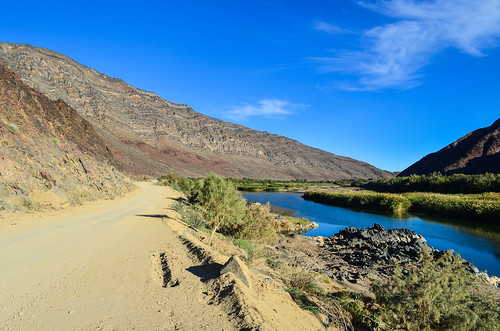 A great road between Ai-Ais national park mountains and the Orange river in Namibia
