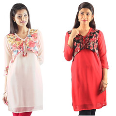 Look Stylish With Red and White Women Kurtis
