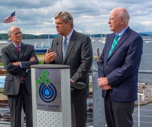 Agriculture Secretary Tom Vilsack announced that USDA will commit $45 million for on-the-ground conservation activities to protect and improve soil and water quality in the Lake Champlain Basin in Vermont over the next five years.  Senator Patrick Leahy (right) and Rep. Peter Welch look on.