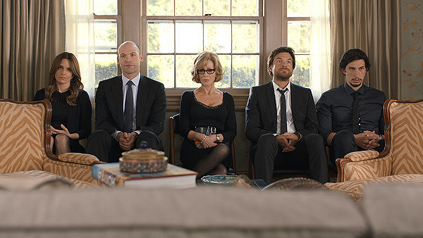 (L-R) Tina Fey, Corey Stoll, Jane Fonda, Jason Bateman and Adam Driver are trapped in the mediocre Hollywood machine in THIS IS WHERE I LEAVE YOU.