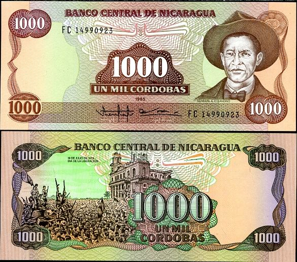 1000 Cordobas Nikaragua 1985(1988), Pick 156