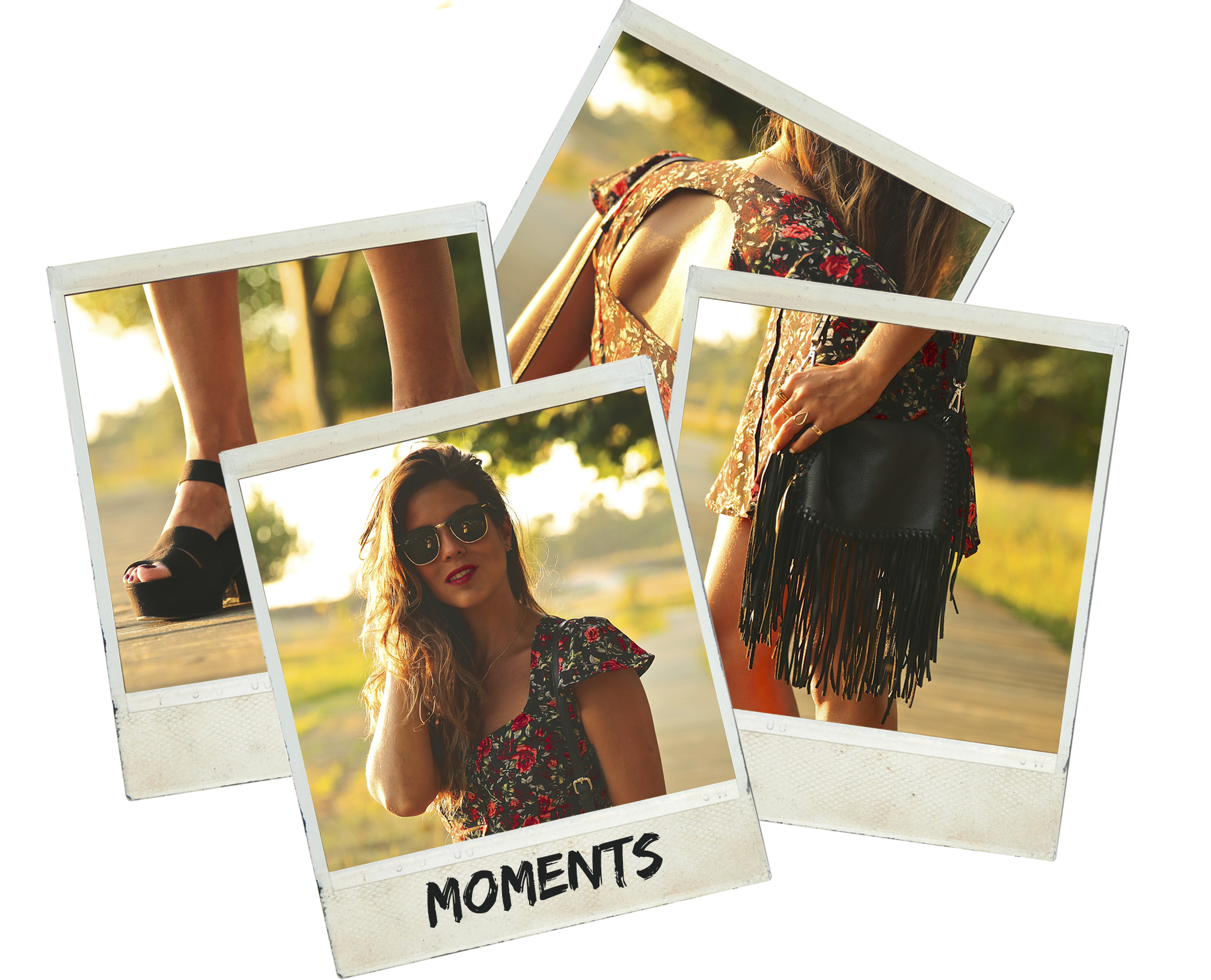 trendy_taste-look-outfit-street_style-ootd-blog-blogger-fashion_spain-moda_españa-flower_print-dress-vestido-flores-sandalias_negras-black_sandals-platforms-sunset-playa-beach-summer-polaroid