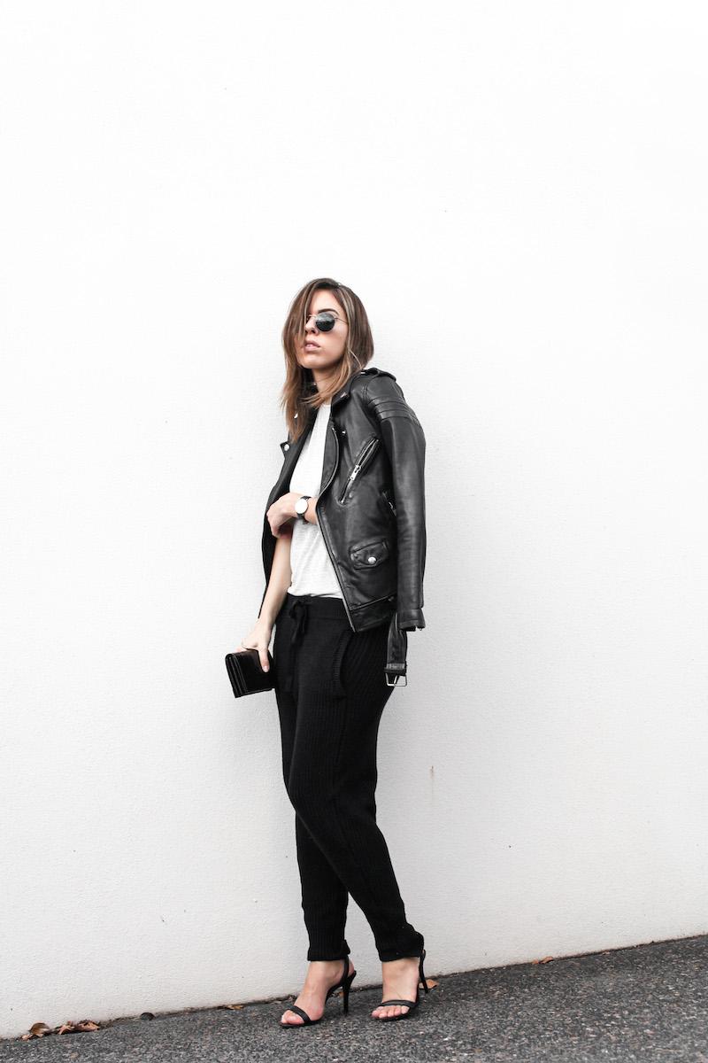 modern legacy fashion blog Australia BLK DNM leather biker jacket 8 Zimmermann grey basic tee Bassike cable knit pants Alexander Wang Antonia heels street style (2 of 6)