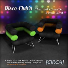"""@ GENRE ~ [CIRCA] - """"Disco Club'n"""" - Chair Set - Green_Org_Blk Velvet"""