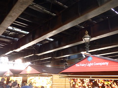 Southbank Centre's Winter Festival - Christmas market - wooden huts - Hungerford Bridge / Golden Jubilee Bridges