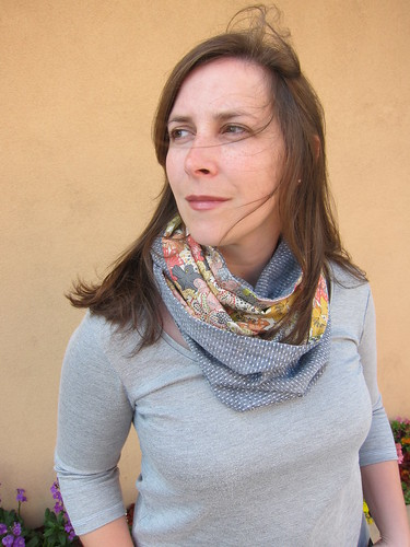 Infinity Scarf made with Robert Kaufman Dot Chambray and Liberty Tana Lawn in Mauvey