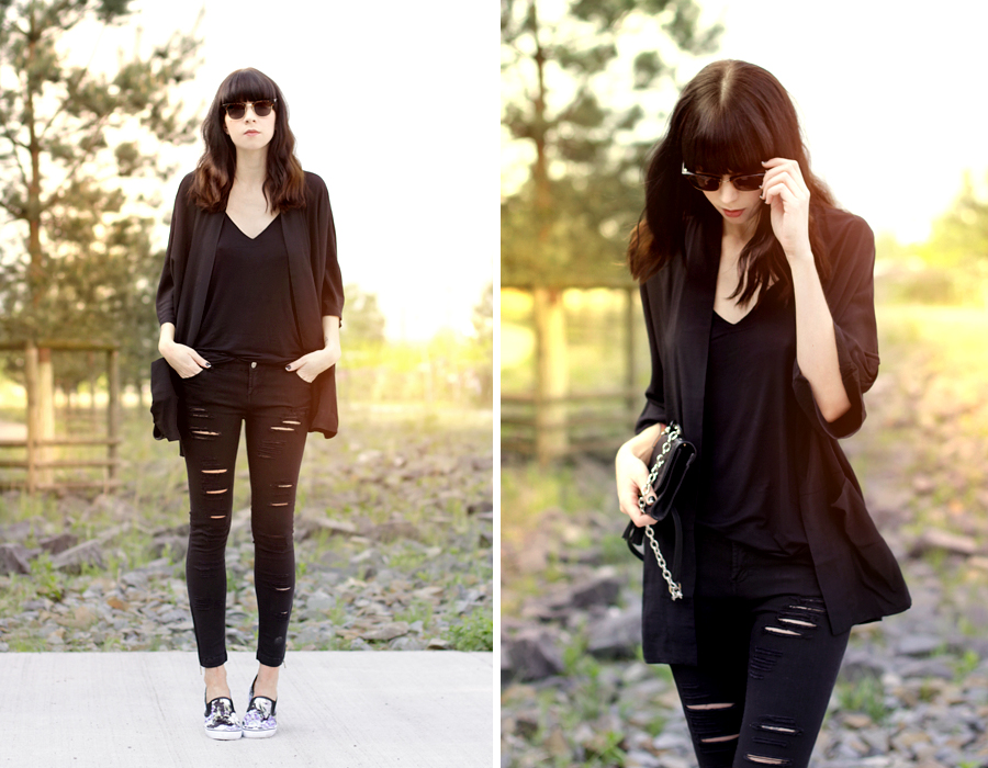 all black everything festival look tally weijl ripped jeans kimono sunset CATS & DOGS fashion blog berlin 3