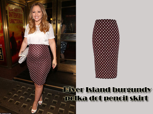 Kimberley Walsh in River Island burgundy polka dot pencil skirt