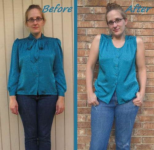 Teal Blouse - Before & After