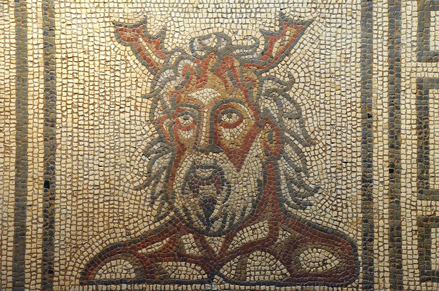 Sea God Mosaic (detail), 160-190 AD, Verulamium Museum, St Albans
