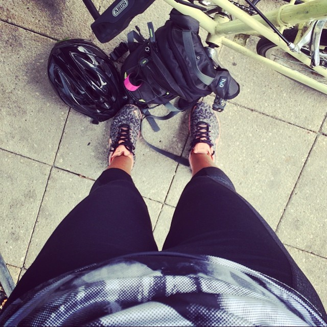 It's FRIDAY! Current cycle commute combo- dance Capris, H&M base layer, Nike Frees, Sprint hydropack & Bontrager (youth) helmet