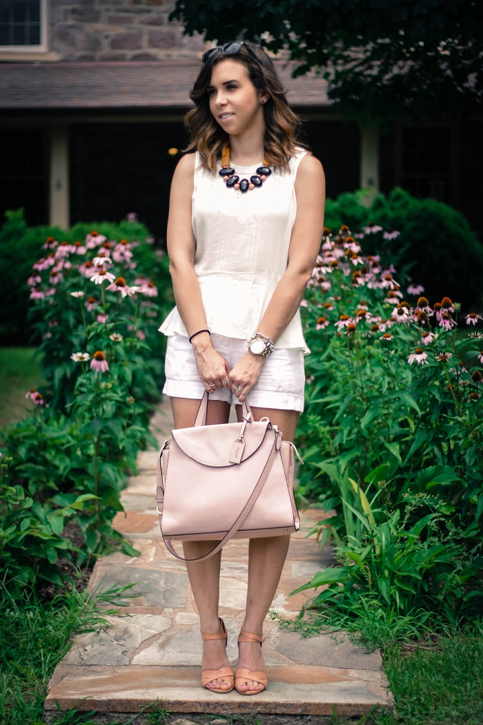 va darling. dc blogger. virginia personal style blogger. virginia blogger. white forever21 top. white cotton shorts. kate spade saturday a satchel. pink wedges. summer style 6