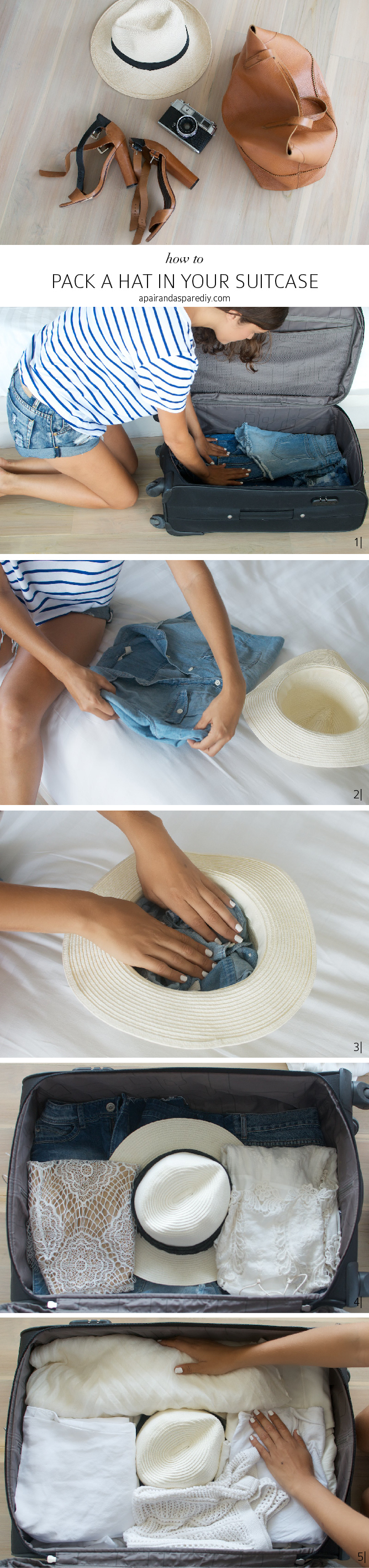 Packing a hat in your suitcase www.apairandasparediy.com