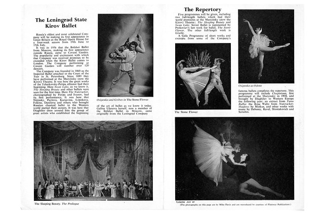 The inside cover of the programme for the Kirov Ballet's first London performances in 1961 © ROH Collections/Roger Wood, 1961