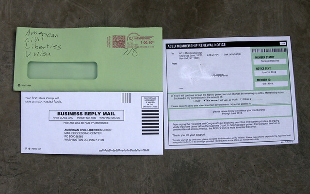 American Civil Liberties Union ACLU junk mail