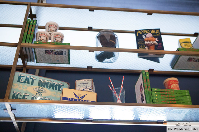 Looking above the bar are vintage ice cream ads and their cookbook