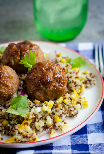 BBQ Turkey Meatballs over Cheddar-Corn Quinoa