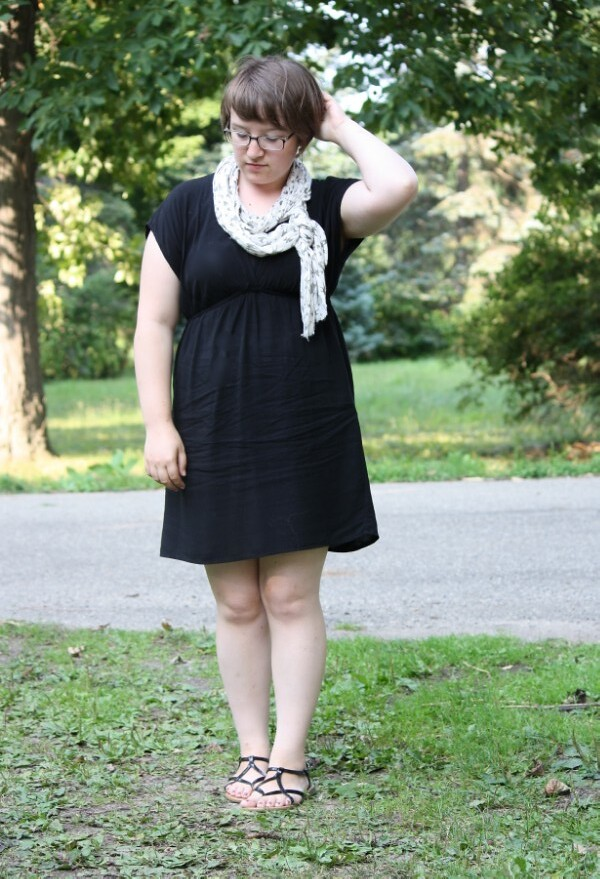 little black dress, scarf, sandals