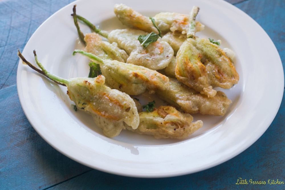Ricotta Stuffed Squash Blossoms via LittleFerraroKitchen.com