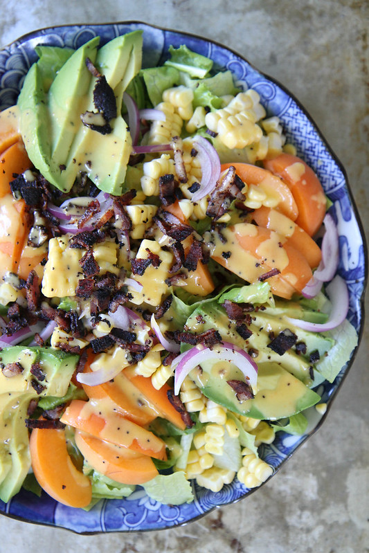 Summer Salad with Apricot Poppyseed Dressing and Bacon Crumbles