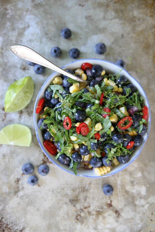 Blueberry, Corn and Basil Salsa