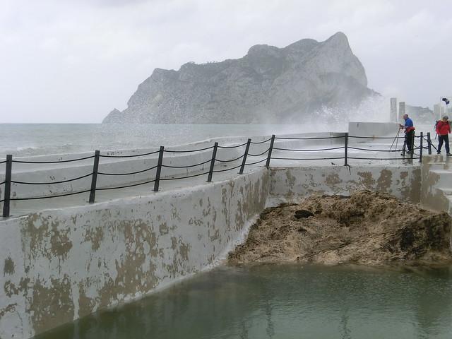 Alte Felsen Wellen Alicante Spanien