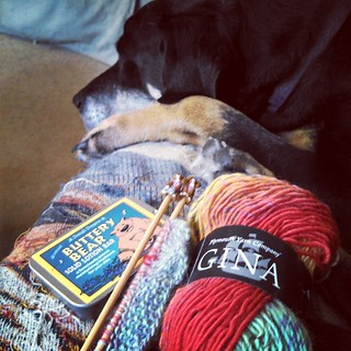 It's been a rough couple of days. Taking some time to chill on the couch with some #yarn, needles and a cuddly dog, and this #solidlotion bar from #DenaliDreams #Alaska  #knitstagram #dogstagram #relax #simplelife