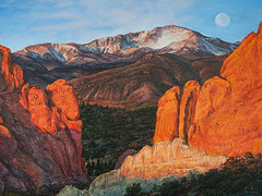 Pikes Peak acrylic painting from Garden of the Gods Park Colorado Springs